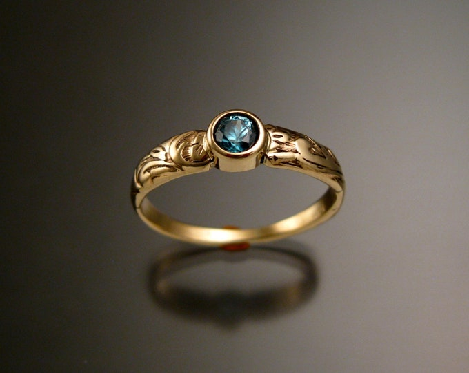 Blue Zircon ring 14k Yellow Gold blue Diamond substitute size 5 1/2