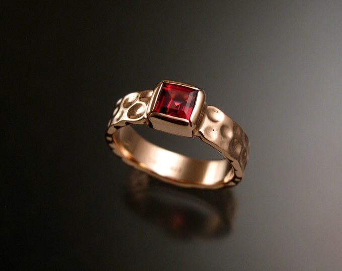 Garnet 6mm square Moonscape band handcrafted in 14k Rose Gold Ruby Substitute ring made to order in your size