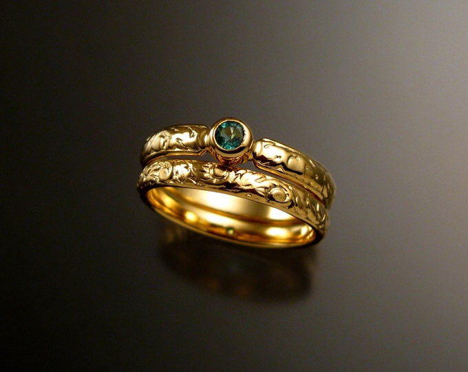 Emerald Wedding set 14k Yellow Gold Victorian bezel set stone two ring set made to order in your size