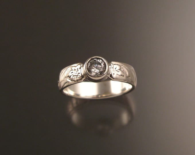 White Zircon Brides Sterling Silver flower and vine pattern wedding ring made to order in your size Victorian Diamond substitute