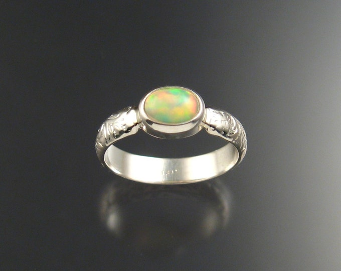 Opal Ring Victorian floral pattern band Handmade to order in your size