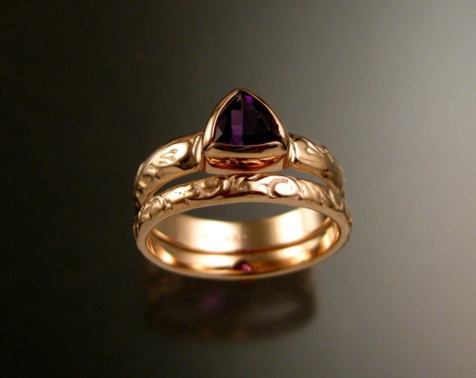 Amethyst Triangle ring 14k Rose Gold Victorian bezel set stone two ring set made to order in your size