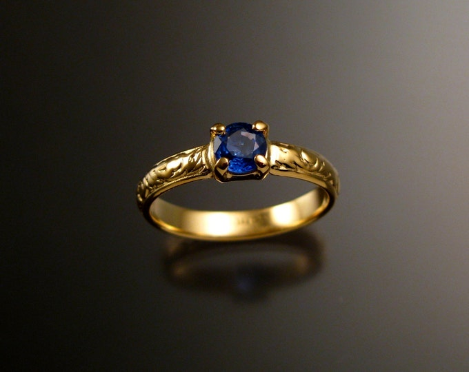 Sapphire Wedding ring 14k yellow Gold Natural Electric Blue Ceylon Sapphire Victorian Engagement ring made to order in your size