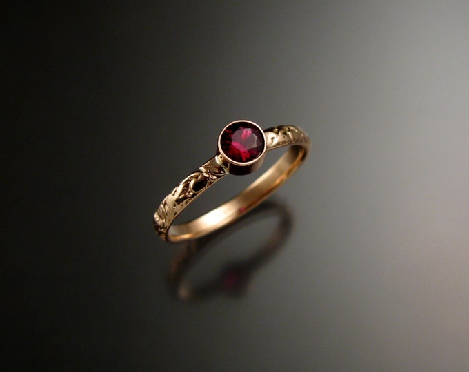 Garnet ring 14k Rose Gold bezel set Victorian floral pattern ring Anthill Pyrope Garnet Ruby substitute ring made to order in your size