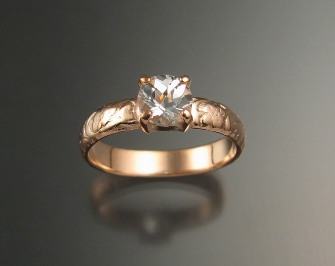 White Topaz Wedding ring 14k rose Gold Diamond substitute ring made to order in your size
