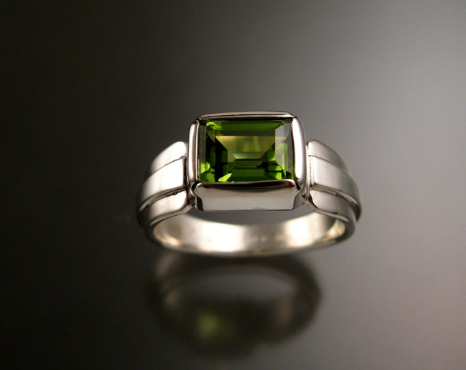 Natural Peridot ring set in Sterling Silver with Tapered raised center band and bezel set Rectangular Stone made to order in your size
