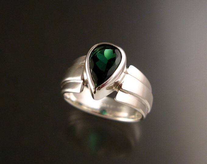Blue Green Tourmaline Ring Pear shaped Sterling Silver size 5 ring