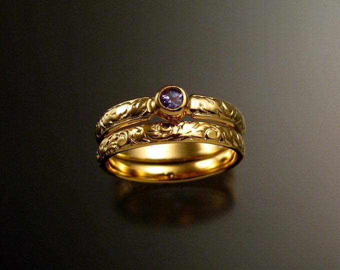 Tanzanite Wedding set 14k Yellow Gold Victorian bezel set two ring set made to order in your size