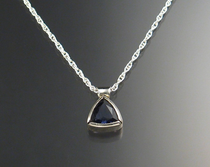 Iolite Triangle Necklace, Sterling Silver and Natural Stone