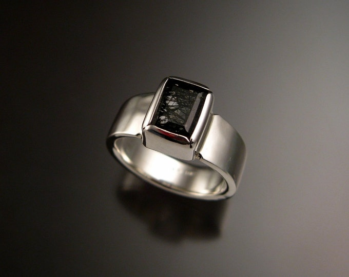 Tourmalated Quartz ring Sterling Silver natural gemstone handmade ring made to order in your size