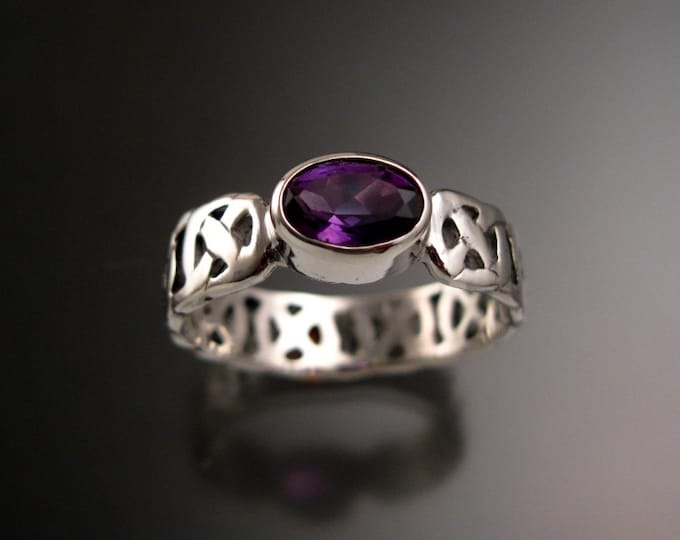 Amethyst Celtic band Wedding ring handcrafted in Sterling Silver with Bezel set stone made to order in your size