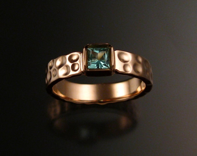 Tourmaline square Moonscape ring handcrafted in 14k rose gold with your choice of pink or green color made to order in your size