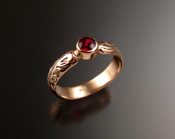 Garnet Wedding ring 14k rose Gold Victorian bezel set ring made to order in your size