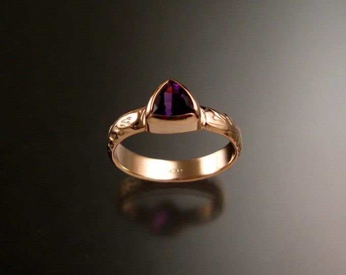 Amethyst Triangle ring 14k Rose Gold Victorian bezel set stone ring made to order in your size