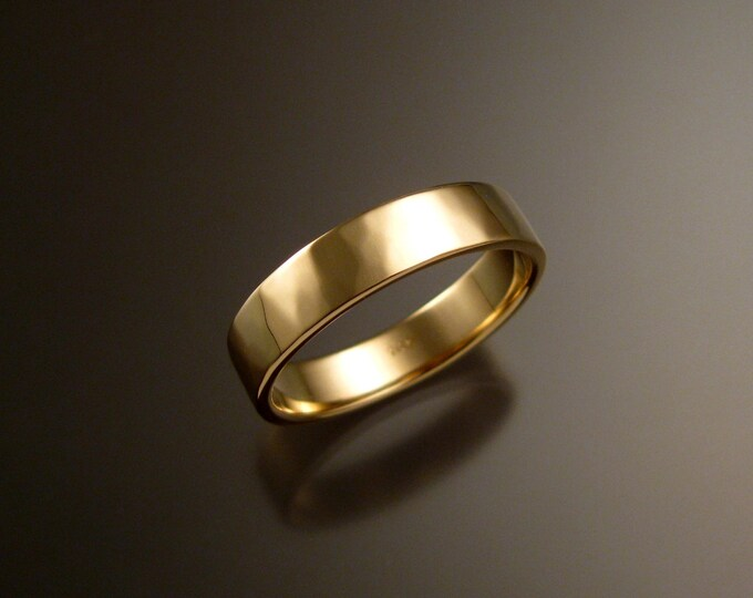 Yellow Gold Wedding band 1.5mm x 5mm Heavy 14k rectangular comfort fit Mans lightly hammered finish ring Handmade in your size Grooms ring