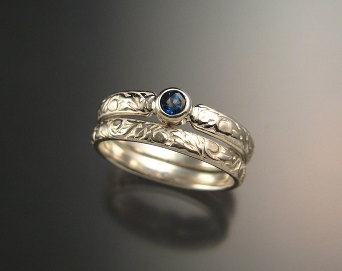 Sapphire Wedding set 14k White Gold Victorian bezel set two rings made to order in your size