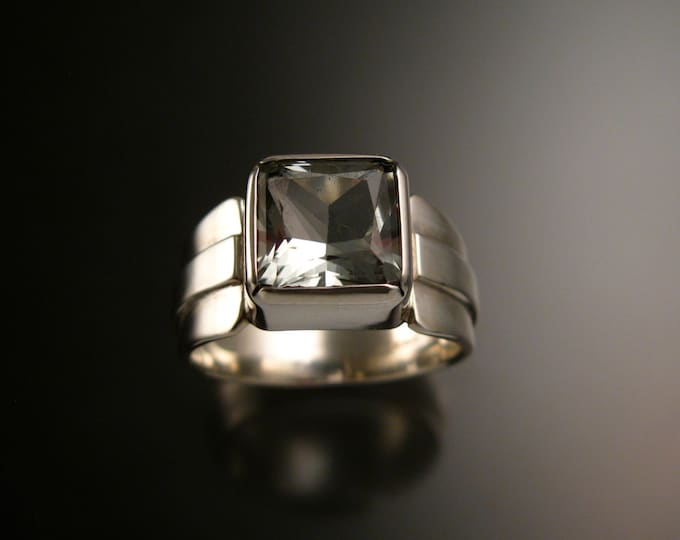 Prasiolite square cut large stone Sterling Silver Green Amethyst wide band ring made to order in your size