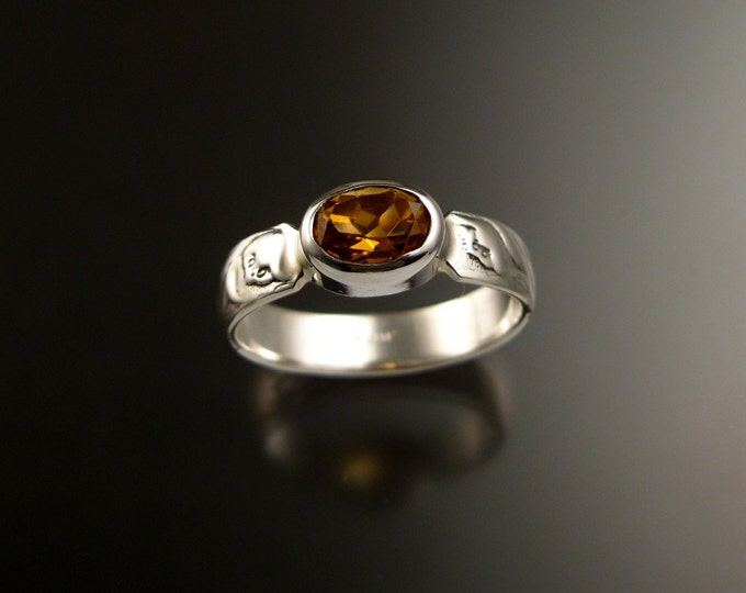 Citrine Ring Sterling silver oval stone Victorian Vine pattern band Ring made to order in your size