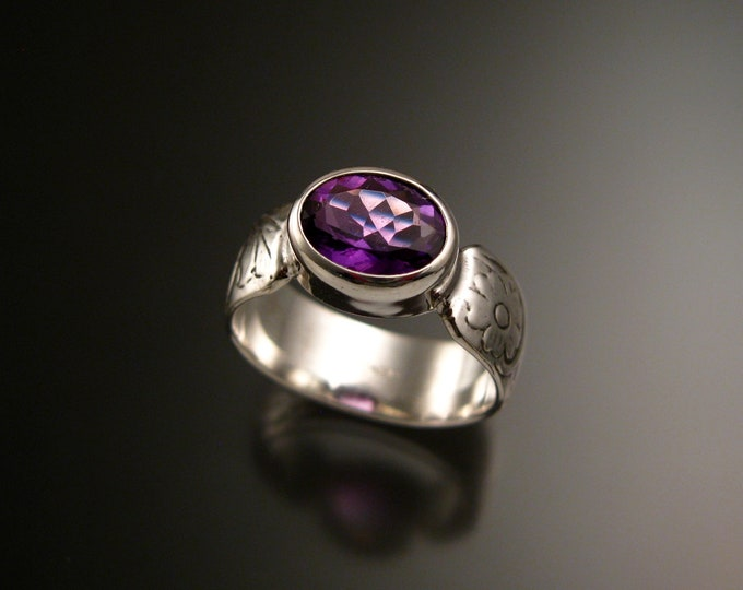 Amethyst Sterling Silver handmade wide Victorian floral pattern band ring east west bezel set stone ring made to order in your size