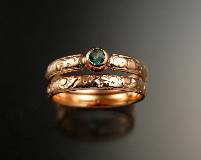 Emerald Wedding set 14k rose Gold Victorian bezel set two ring set made to order in your size