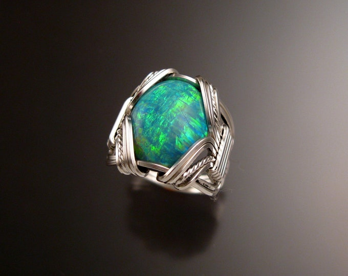 Green Lab created Opal ring handcrafted in Sterling Silver made to order in your size