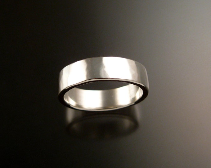 White Gold Heavy 14k 2x6mm rectangular comfort fit Lightly hammered Mans Wedding band Handmade in your size Grooms ring