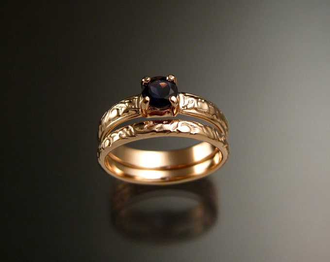 Iolite 14k Rose Gold Victorian floral pattern Sapphire substitute wedding / engagement ring set Made to order in your size