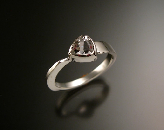 White Topaz triangle ring Sterling Silver bezel set Stone Asymmetrical setting made to order in your Size
