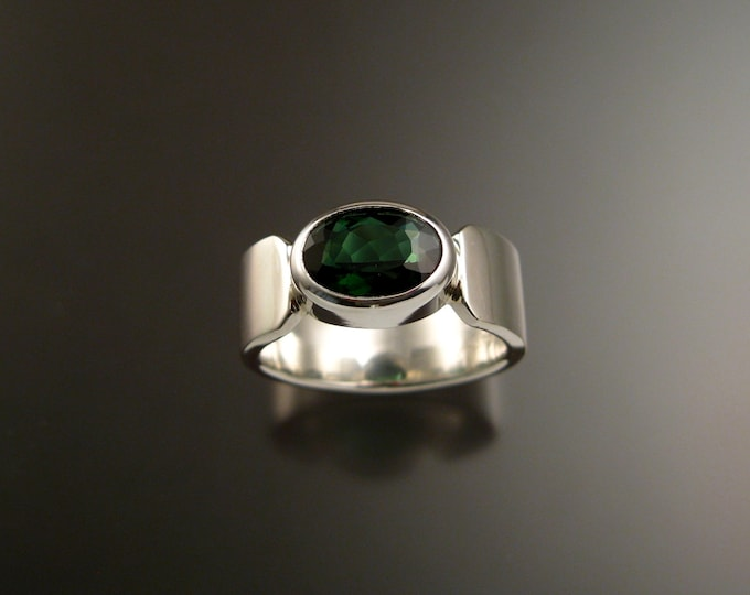 Green Tourmaline Ring large Oval cut Sterling Silver Emerald Substitute Mans ring Made to Order In Your Size