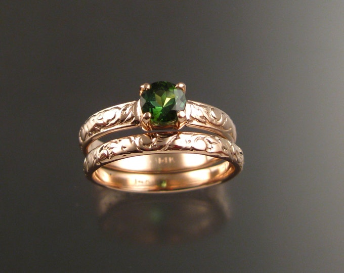 Green Tourmaline 14k Rose Gold Victorian floral pattern wedding ring Pink gold Emerald substitute engagement rings