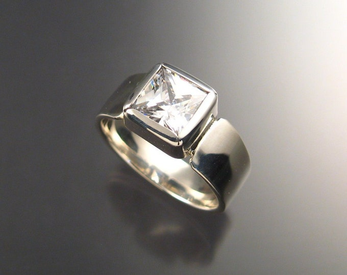 Cubic Zirconium Mans ring in Sterling Silver made to order in your size