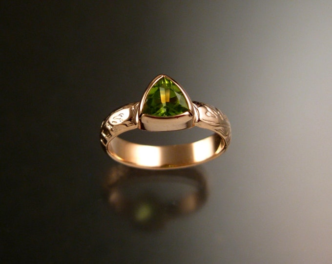 Peridot Triangle ring 14k Rose Gold Victorian bezel set stone ring made to order in your size