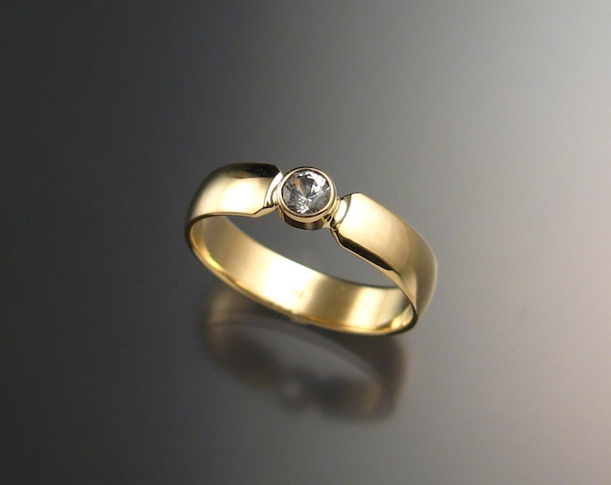 White Sapphire Wedding ring Natural Diamond substitute Engagement ring Handmade in 14k yellow Gold