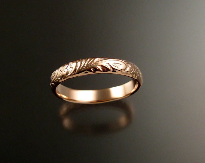 Rose Gold 4mm Floral pattern Band 14k wedding ring made to order in your size Victorian wedding band