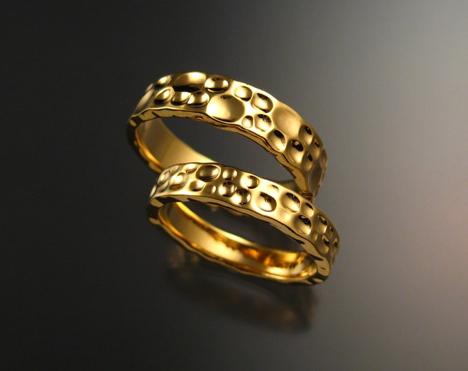 Yellow Gold Moonscape Wedding band Heavy 14k His and Hers Unique Handmade ring set for Bride and Groom made to order in your size