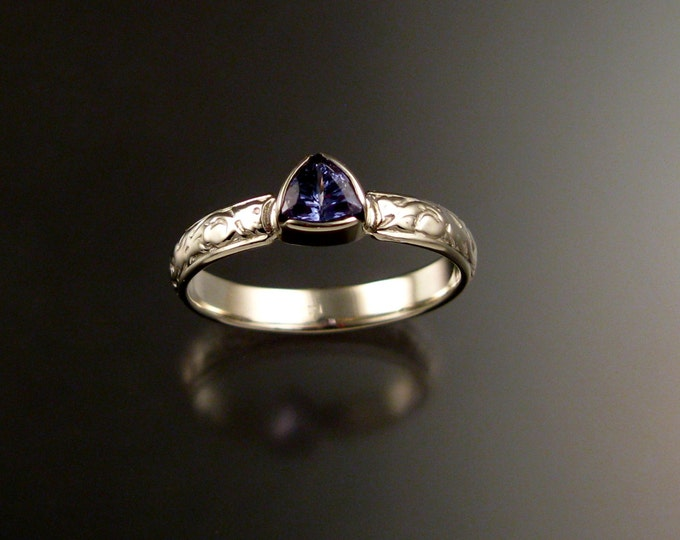 Tanzanite Triangle Wedding ring 14k White Gold Victorian bezel set stone ring made to order in your size