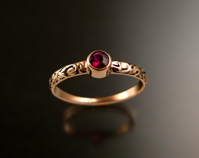 Garnet ring 14k Rose Gold bezel set Victorian floral pattern ring Anthill Pyrope Garnet Ruby substitute ring size 7 1/2