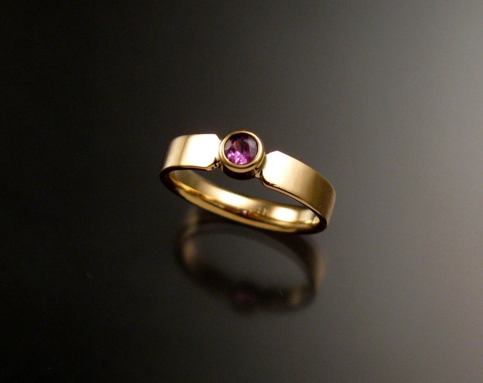 Pink Sapphire Wedding ring 14k Yellow Gold Pink Diamond substitute bezel set ring made to order in your size