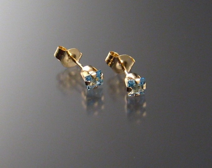 Aquamarine posts, Square-cut, 14k Gold