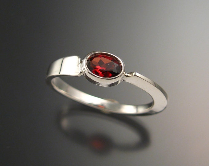 Garnet stackable Ring Sterling Silver Asymmetrical ring Hand crafted in your size