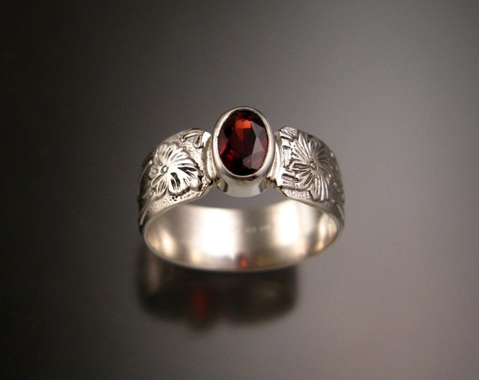 Garnet Raspberry red 5x7mm Oval Sterling Silver Bezel set stone ring with Wide Victorian floral pattern band made to order in your size