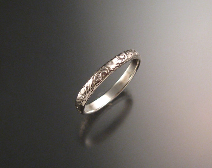 14k white Gold 2.7 wide  x 1mm thick. Floral pattern Band wedding ring made to order in your size