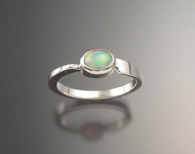 Ethiopian Opal Ring Sterling Silver Asymmetrical stackable ring Hand crafted in your size