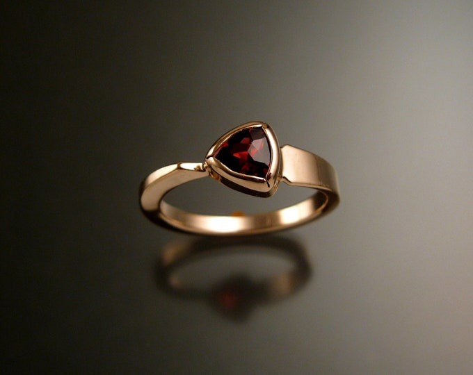 Garnet triangle ring 14k Rose Gold bezel set Stone Asymmetrical setting made to order in your Size