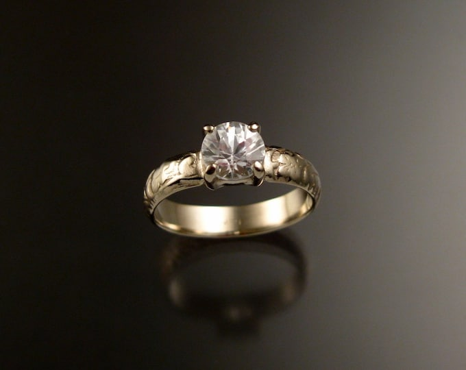 White Zircon Wedding ring in 14k White Gold Diamond substitute Victorian Engagement ring made to order in your size