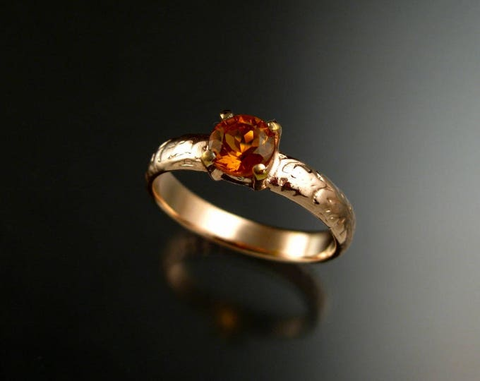 Citrine Wedding ring 14k rose Gold Topaz substitute November Birthstone Victorian Floral Pattern ring made to order in your size