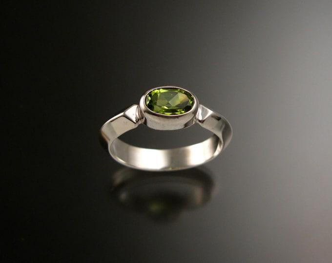 Peridot Sterling Silver handmade triangular band ring with bezel set east west stone stacking ring made to order in your size