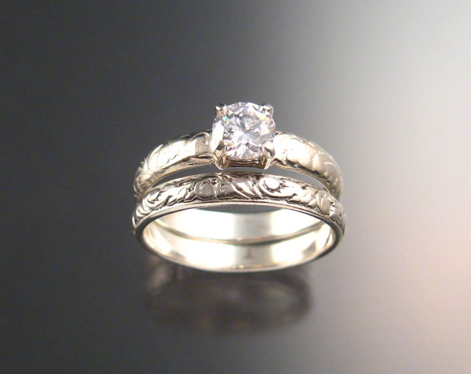 White Zircon Wedding set Sterling Silver Diamond substitute Victorian floral pattern two ring set made to order in your size