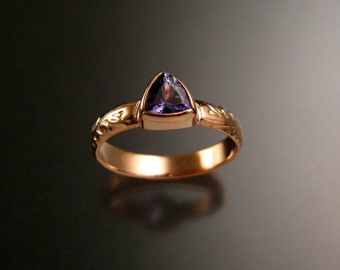 Tanzanite Triangle ring 14k Rose Gold Victorian bezel set stone ring made to order in your size