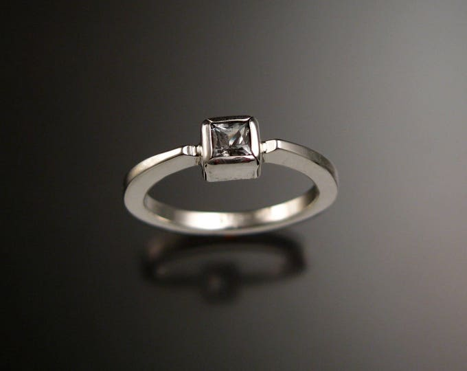 Stackable White Topaz square stone  ring Sterling Silver handmade to order in your size